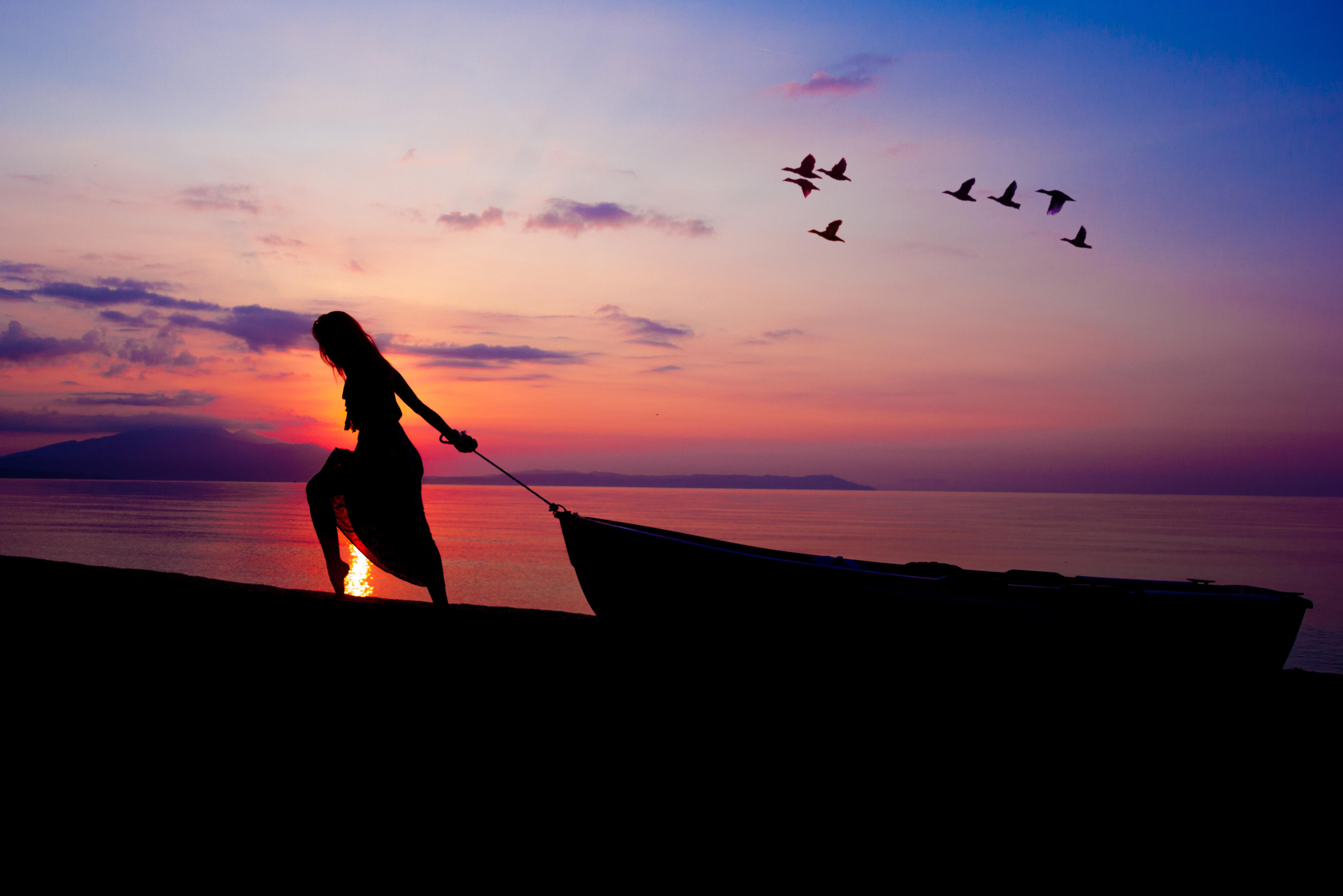 Wallpaper Fisherman Sunset Boat Hd Creative Graphics: Women Towing Boat Beach Sunset Silhouette, HD Nature, 4k
