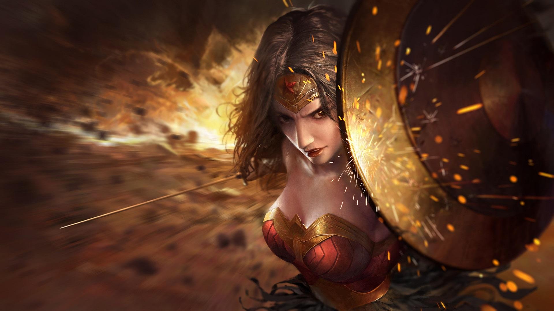 1280x1024 Wonder Woman Movie 1280x1024 Resolution Hd 4k: Wonder Woman Amazing Artwork Shield, HD Superheroes, 4k