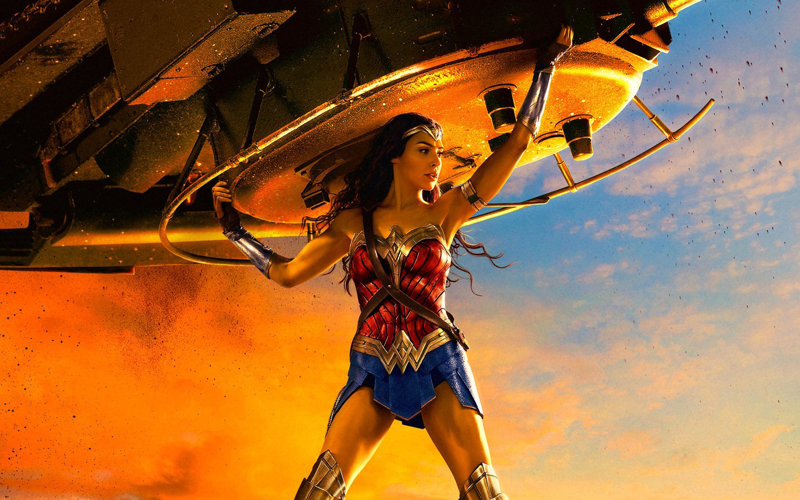 wonder woman lifting tank, hd movies, 4k wallpapers, images