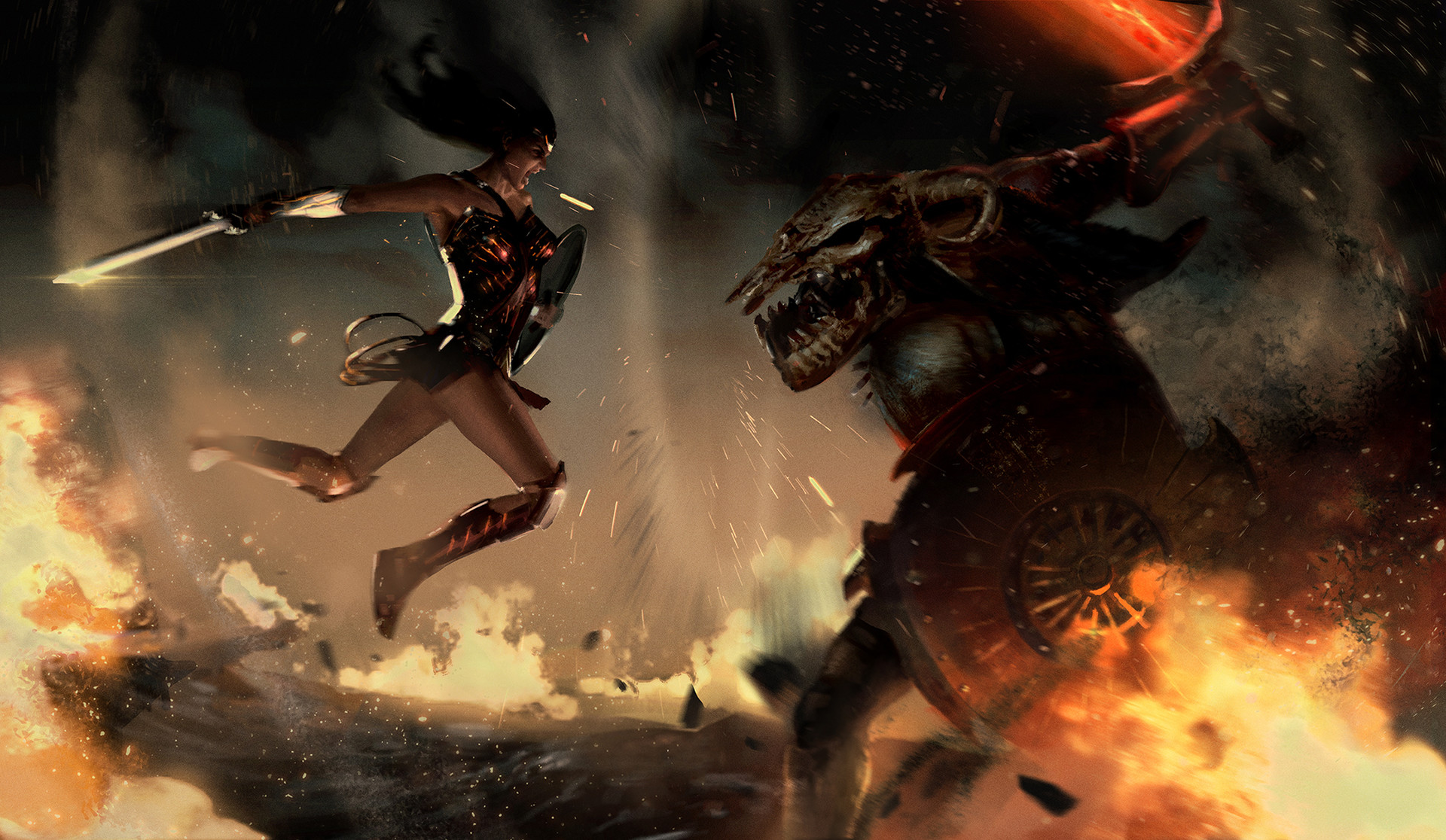 wonder woman vs ares hd artist 4k wallpapers images backgrounds