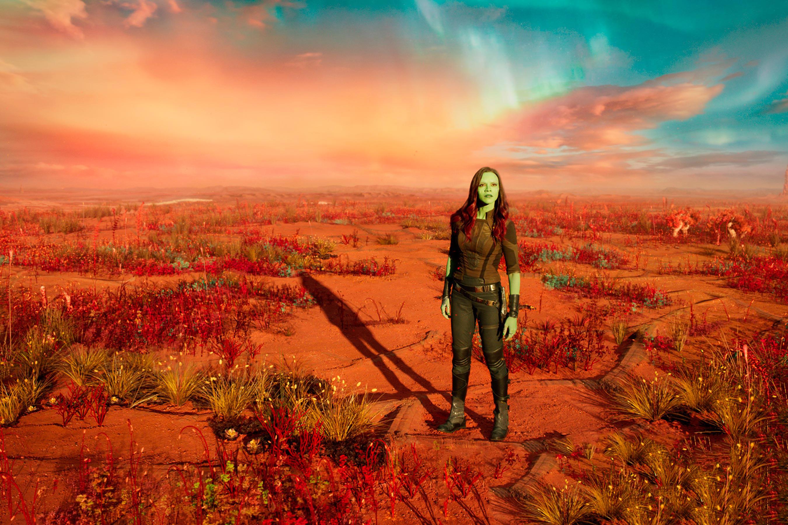 2560x1440 Zoe Saldana As Gamora In Guardians Of Galaxy Vol 2 1440p