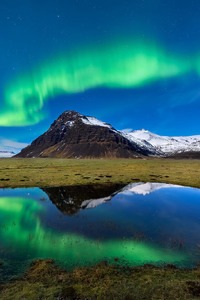 480x854  Aurora Borealis Light Mountain Nature Reflection