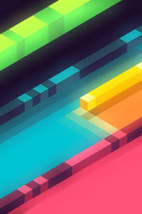 240x400 3d Abstract Colorful Shapes Minimalist 5k