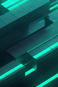 240x400 3d Abstract Neon Glow Teal Digital Art Shapes