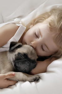 320x480 Adorable Little Girl Sleeping with Pug Puppy