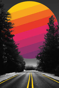 360x640 Adventure Road Abstract Colorful Sun