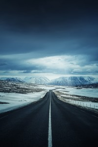 720x1280 Alone Road Snow Cold Open Sky Mountains