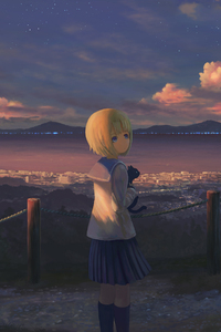 240x400 Anime Girl Alone Standing