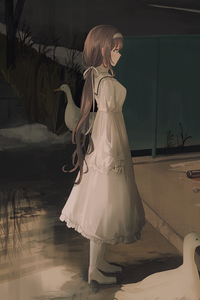 1440x2960 Anime Girl Brunette White Dress