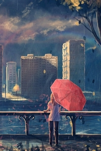 1440x2960 Anime Girl Cityscape Umbrella Trees