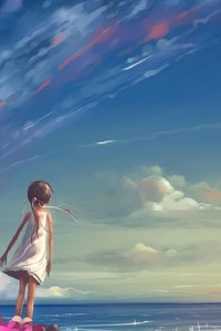 Anime Girl Looking At Sky