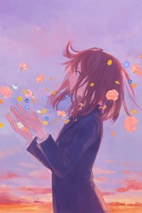 Anime Girl School Uniform Flowers Clouds 8k