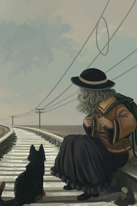 Anime Girl With Cat On Railroad