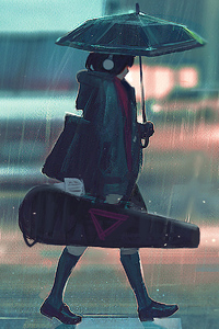 Anime Girl With Guitar Passing Street