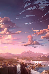 Anime Landscape Waterfall Cloud 5k