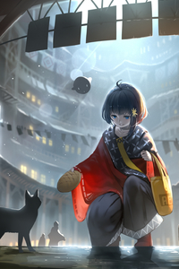 2160x3840 Anime Original Blue Eyes Short Hair Girls With Cat