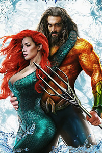 480x854 Aquaman And Mera Art