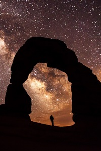 1440x2560 Arch Sandstone Sunset Rock Person Standing