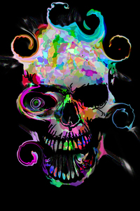360x640 Artistic Colorful Skull