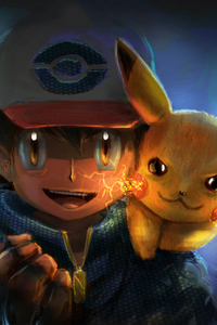 480x854 Ash And Pikachu Artwork