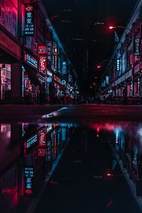 1080x2160 Asia Neon City Lights Reflections