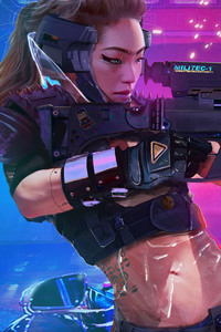 1080x2160 Asian Girl Cyberpunk 2077