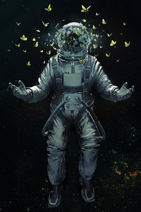 1080x1920 Astronaut Broken Glass Butterfly Space Suit