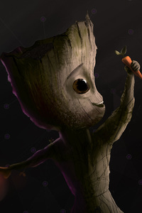 Baby Groot Carrot Artwork
