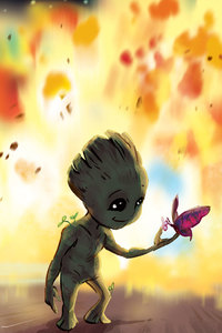 1280x2120 Baby Groot Fan Art
