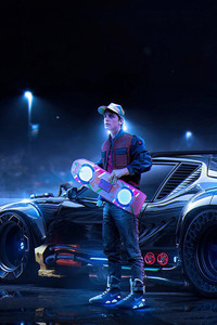 1125x2436 Back To The Future DeLorean Marty McFly