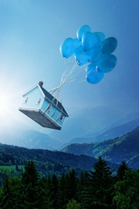 1440x2560 Balloon Floating House 5k