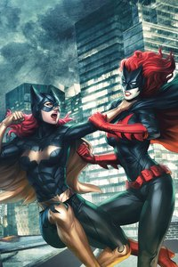 1440x2560 Batgirl Vs Batwoman Fight