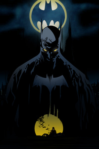 1080x2160 Batman Behind Bat Signal
