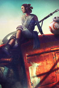 BB8 And Rey Star Wars Artwork