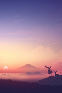 Bear Deer Mountains Sunrise Minimalism Artwork 8k