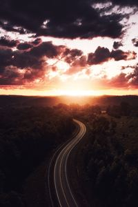 2160x3840 Beautiful Road Path Sun Setting Drone View 4k