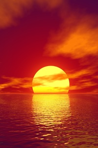 2160x3840 Big Sun Sunset Water Body 4k