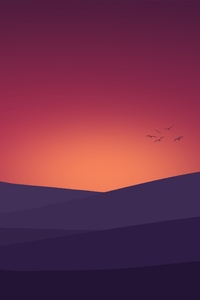 1080x1920 Birds Flying Towards Sunset Landscape Minimalist 4k