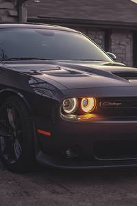 1440x2560 Black Dodge Challenger 5k