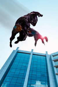 800x1280 Black Panther Jumping From The Building