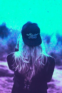 320x480 Blonde Girl Cap Colorful Cyan Photography
