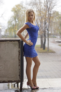 640x1136 Blue Dress Girl Outdoor