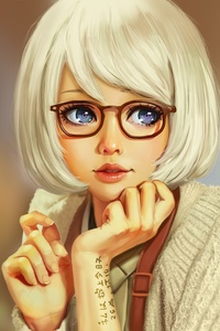 360x640 Blue Eyes Girl Artistic Art