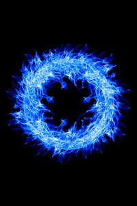 1080x2280 Blue Fire Ring 4k