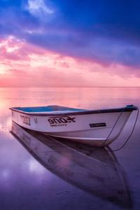360x640 Boat Beach Seashore Reflection Sunset