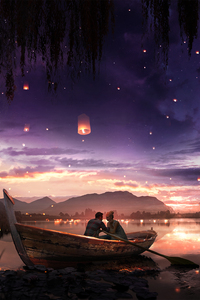 1080x2280 Boat Couple Dreamy Painting Lake Lantern