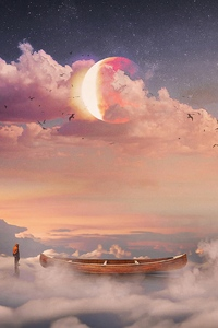 1125x2436 Boat Stars Planet Fantasy Art