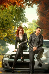 640x960 Boy And Girl Sitting Front Of Ford Shelby GT500 Super Snake