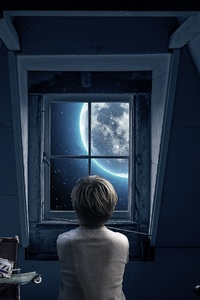 480x854 Boy Childhood Memories Dream World Out Of The Window 5k