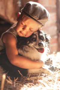 750x1334 Boy Outdoors Hugging Dog 5k